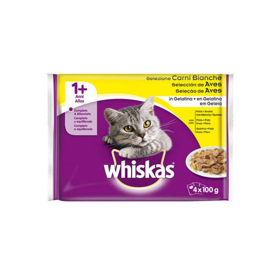 Picture of Alim Gato WHISKAS +1 Aves 4x100gr